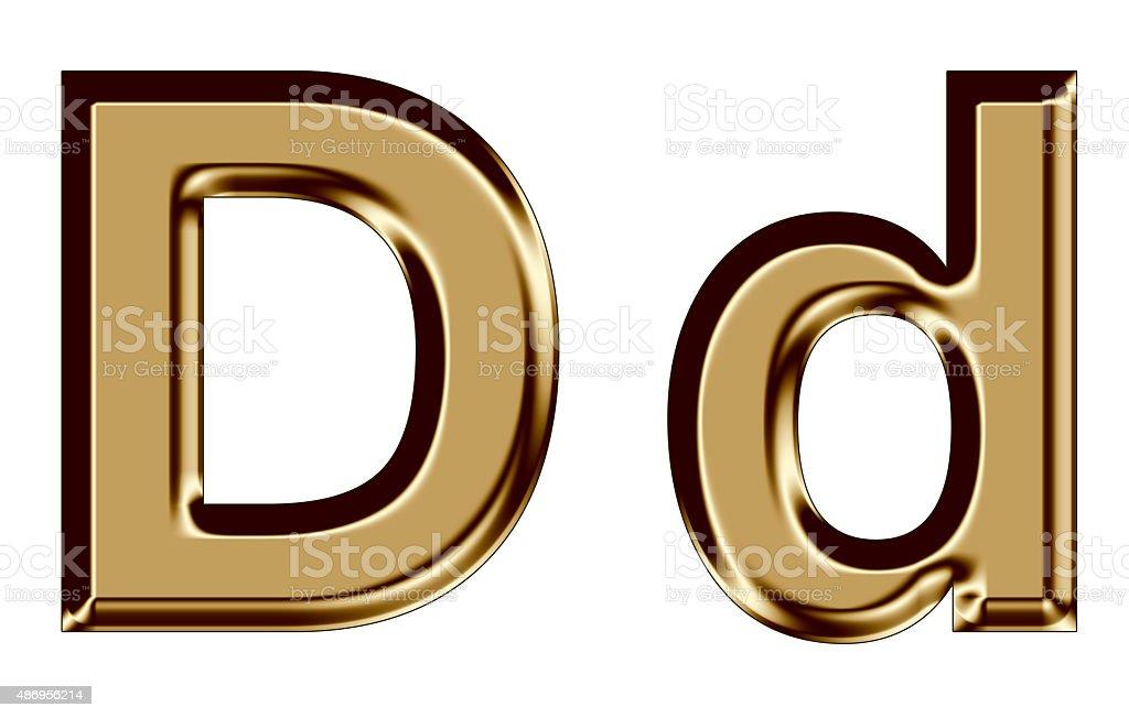 Golden letter D,d on white background stock photo