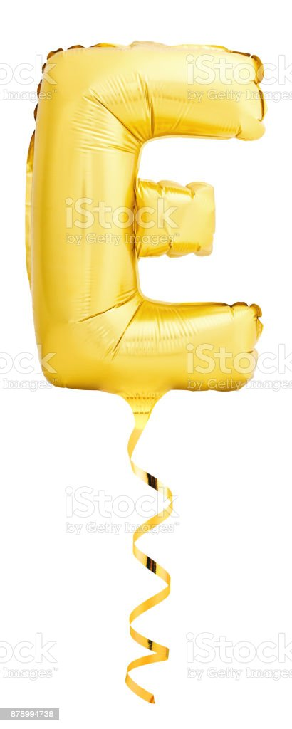 Golden letter E made of inflatable balloon with golden ribbon stock photo