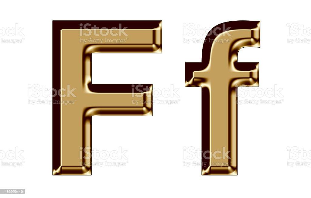 Golden letter F,f on white background stock photo