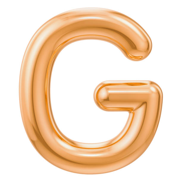 Golden letter G, 3D rendering isolated on white background stock photo
