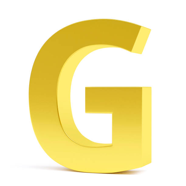 Golden letter G. Collection. stock photo