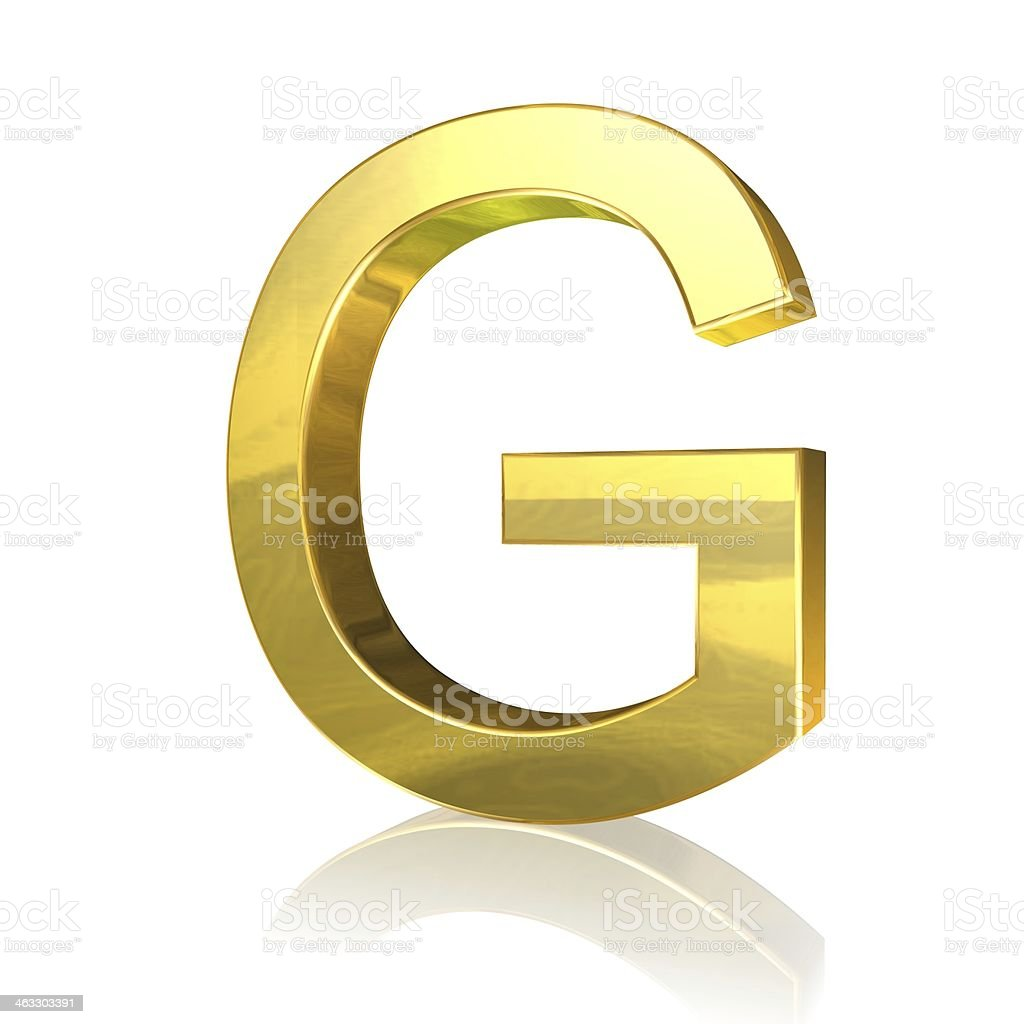 Golden letter G stock photo