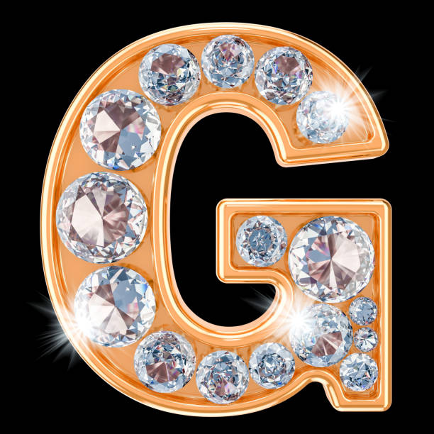 Golden letter G with diamonds. 3D rendering isolated on black background stock photo
