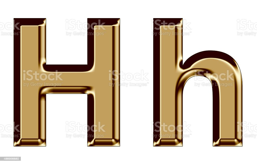 Golden letter H,h on white background stock photo