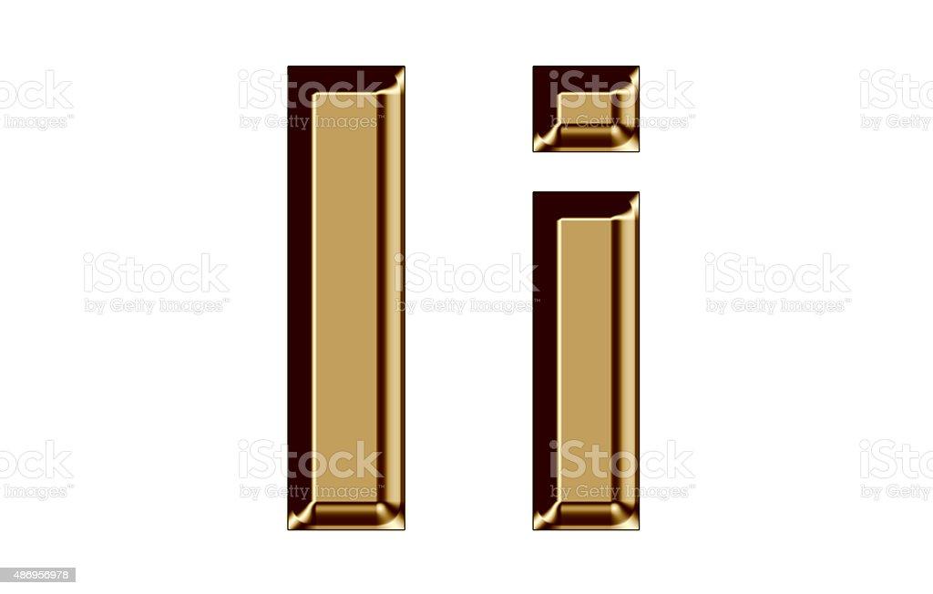 Golden letter I,i on white background stock photo