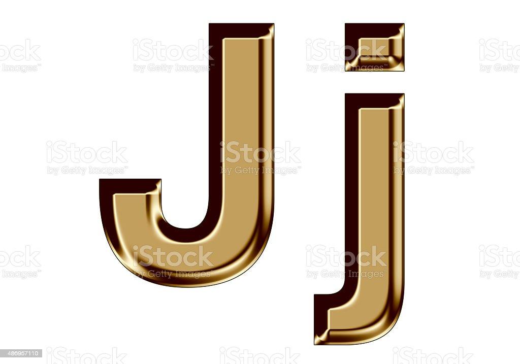 Golden letter J,j on white background stock photo