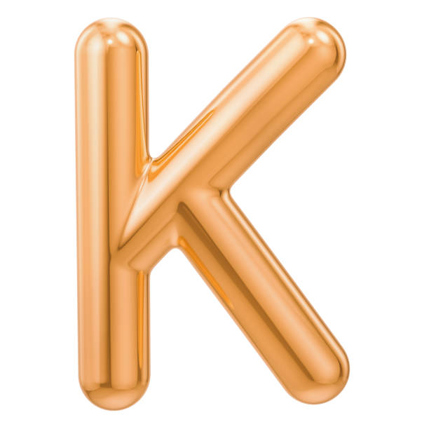 golden letter k, 3d rendering isolated on white background - k logo zdjęcia i obrazy z banku zdjęć