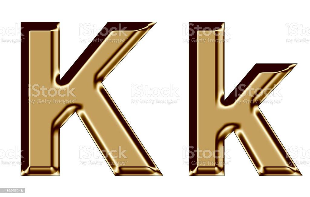 Golden letter K,k on white background stock photo