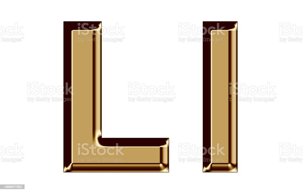Golden letter L,l on white background stock photo