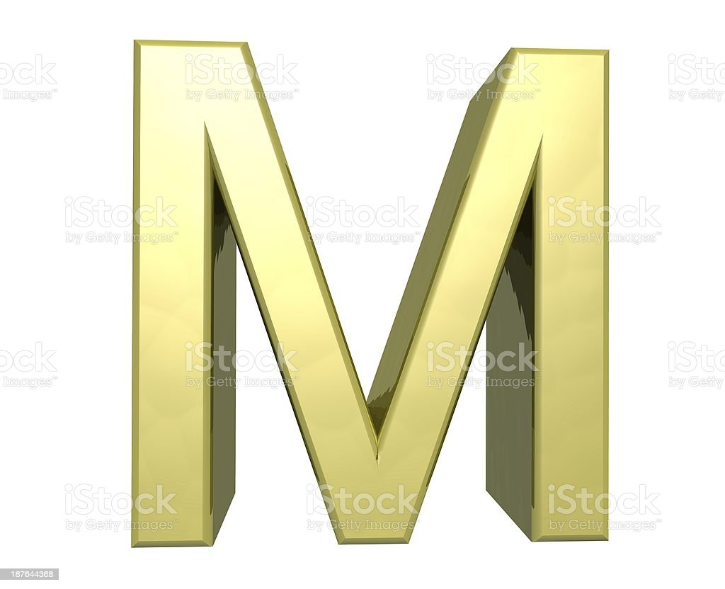 golden letter M stock photo