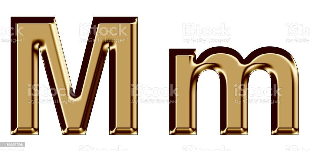 Golden letter M,m on white background stock photo