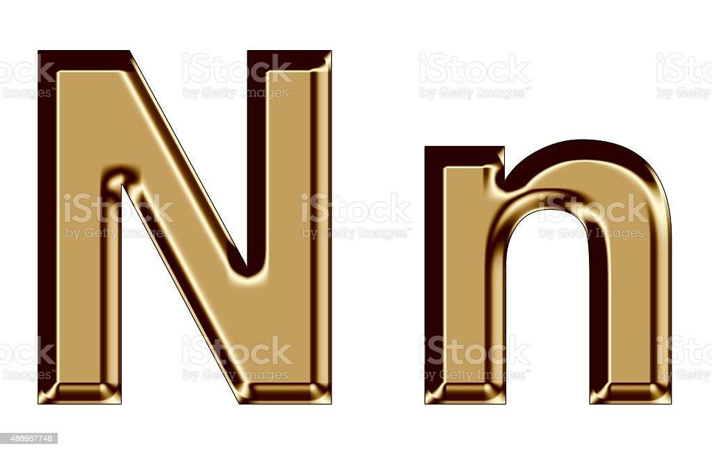 Golden letter N,n on white background stock photo