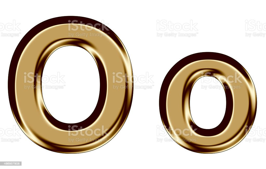 Golden letter O,o on white background stock photo