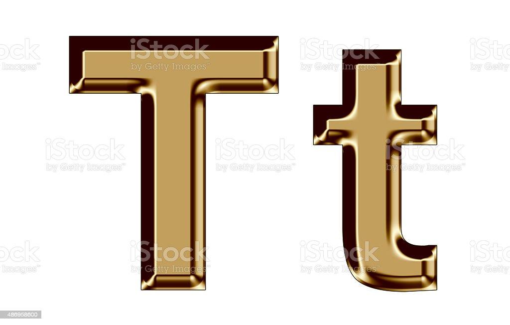 Golden letter T,t on white background stock photo