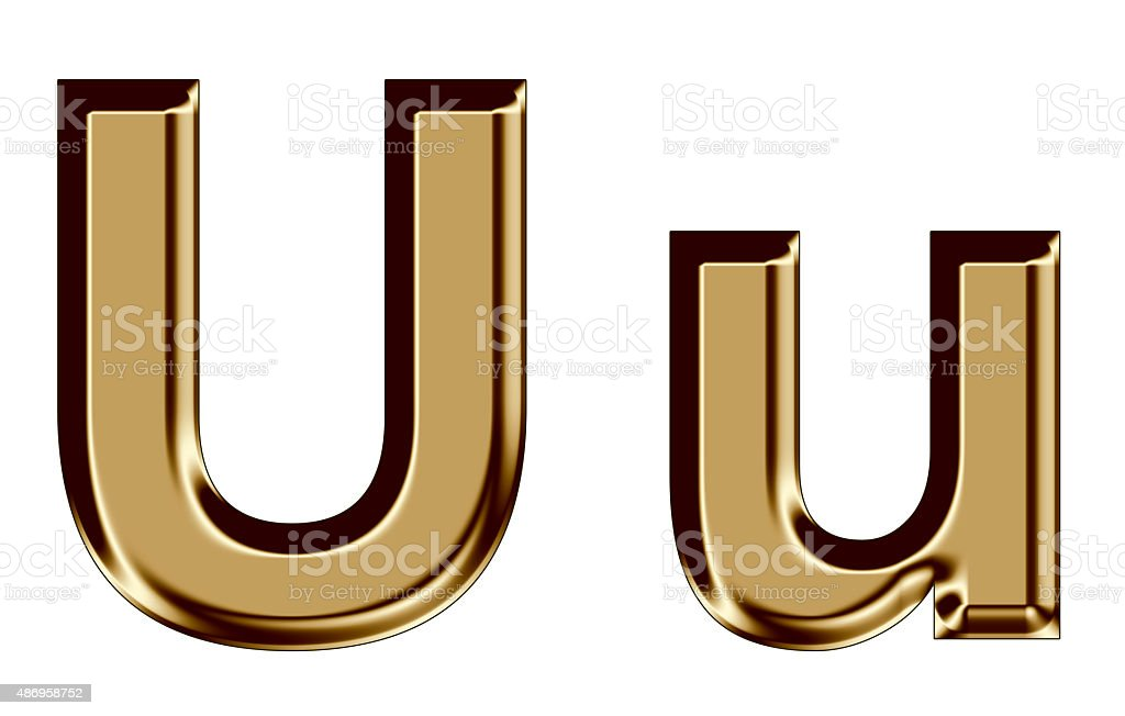 Golden letter U,u on white background stock photo
