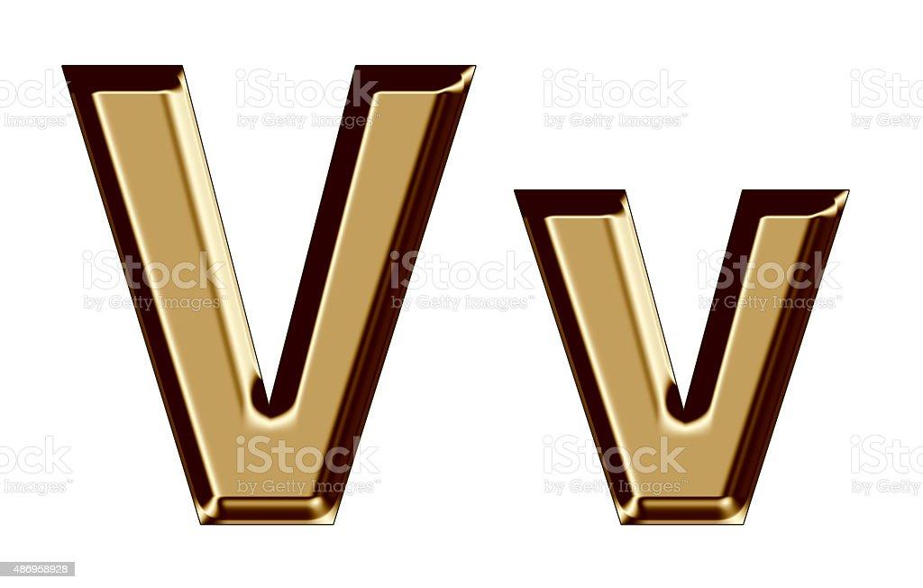 Golden letter V,v on white background stock photo
