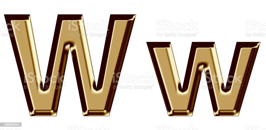 Golden letter W,w on white background stock photo