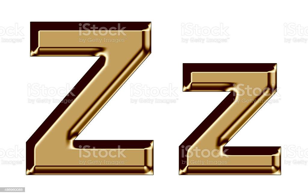 Golden letter Z,z on white background stock photo