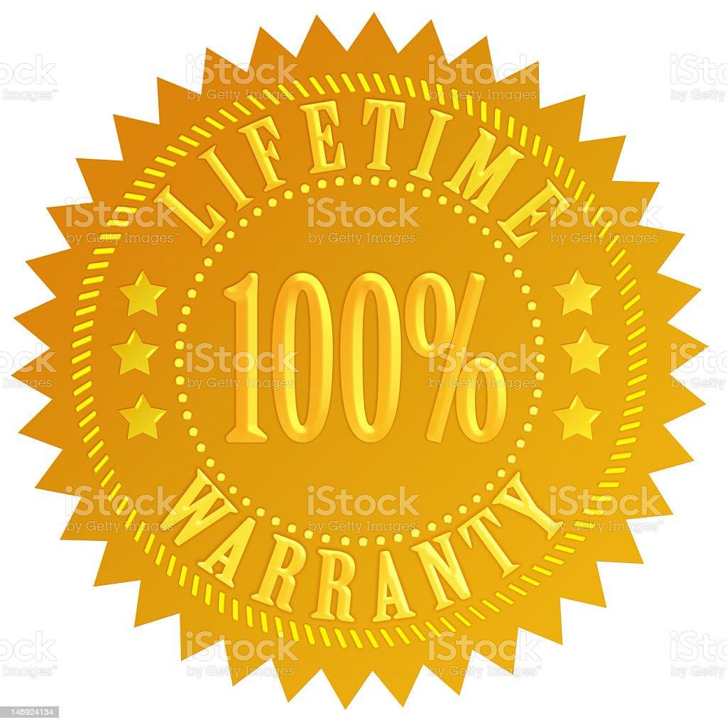Golden lifetime 100% warranty seal stock photo