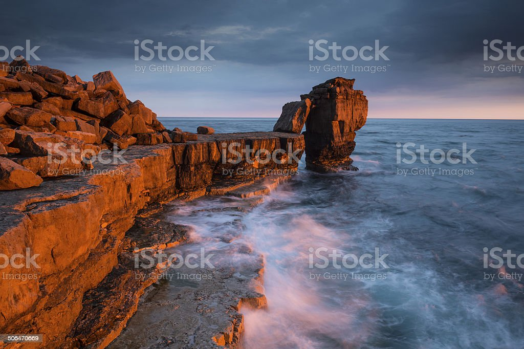 Golden light on Pulpit Rock stock photo