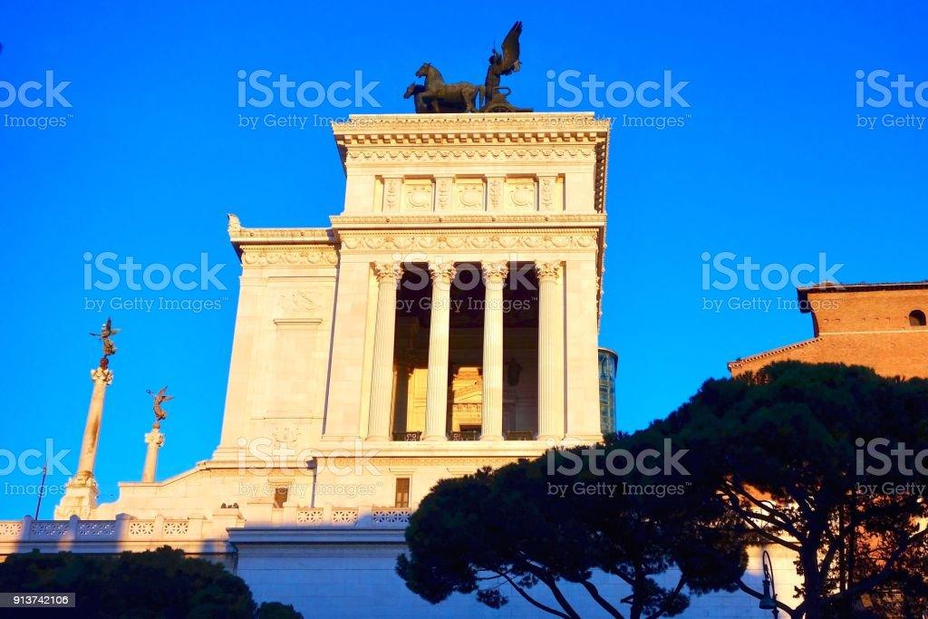 Golden light on the Victor Emmanuel Monument, Altare della Patria, Rome, Italy stock photo