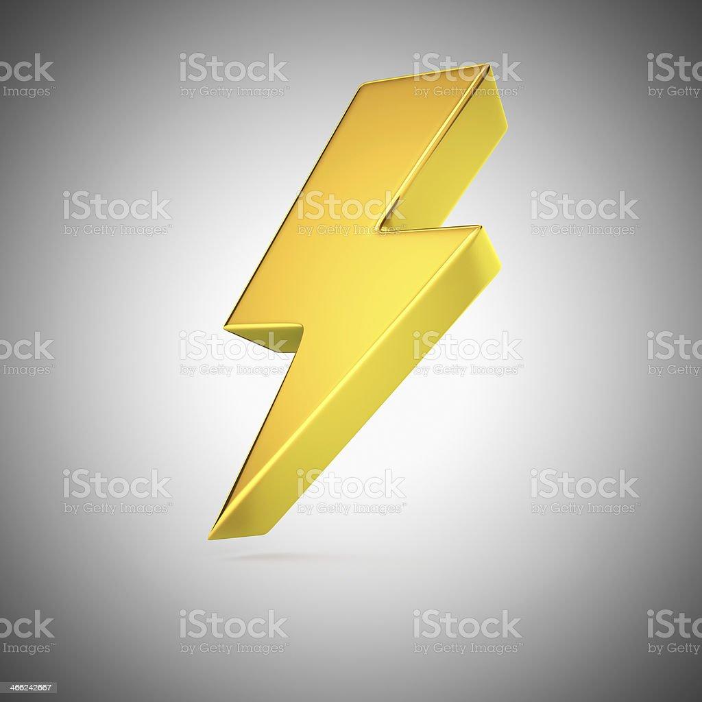 Golden lightning stock photo