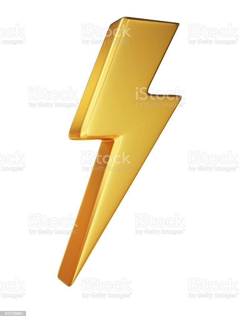 Golden Lightning Symbol on White Background stock photo
