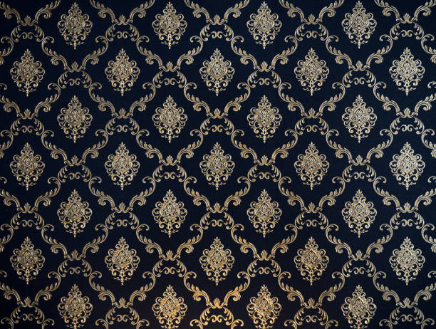 motif thaï de ligne d'or sur le tissu bleu marine pour le fond - damas en matière textile photos et images de collection