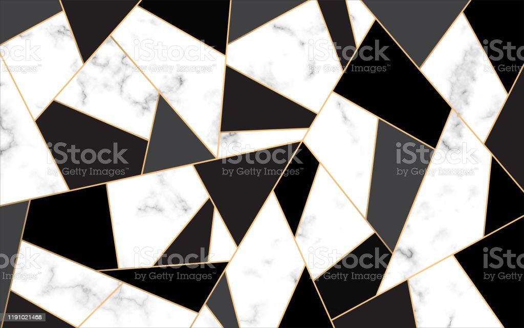 Golden Lines Pattern Background Mosaic Gold And Black White Marble Texture Background Luxury Style Stock Photo Download Image Now Istock