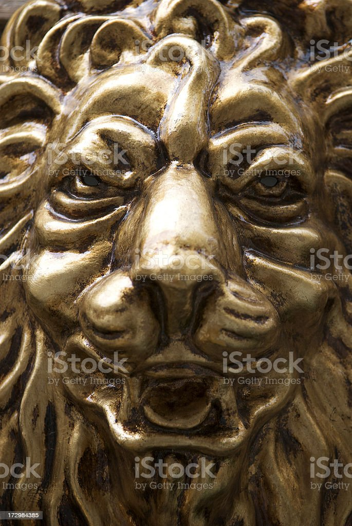 Golden Lion Carnival Mask Close-Up stock photo