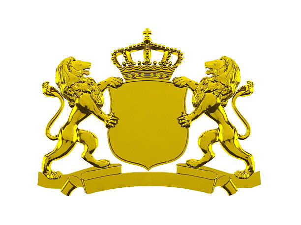 Golden lion crown banner stock photo
