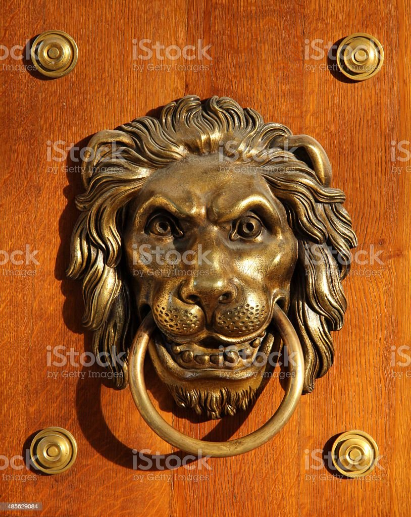 Golden Lion Doorhandle front stock photo