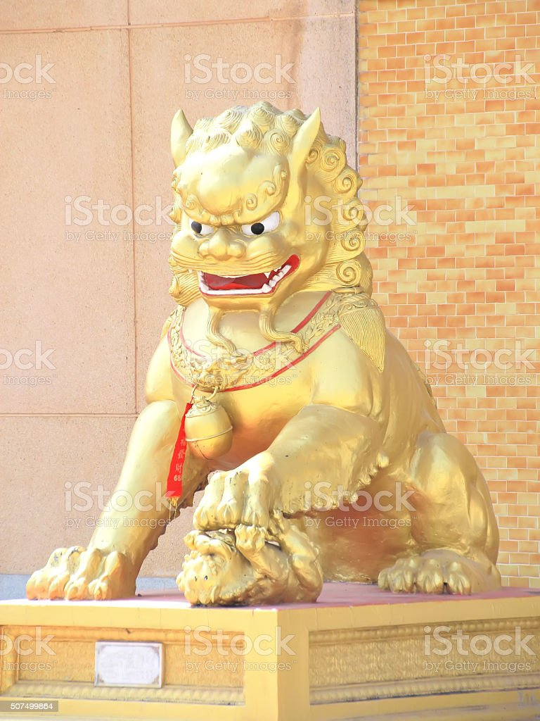 Golden Lion Statue stock photo