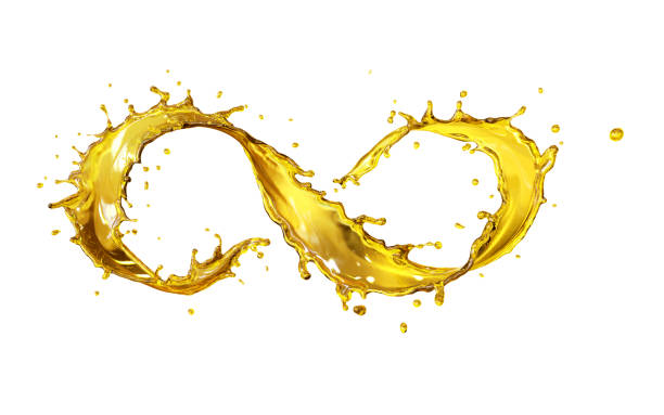 Golden liquid pouring in form of infinity - foto stock