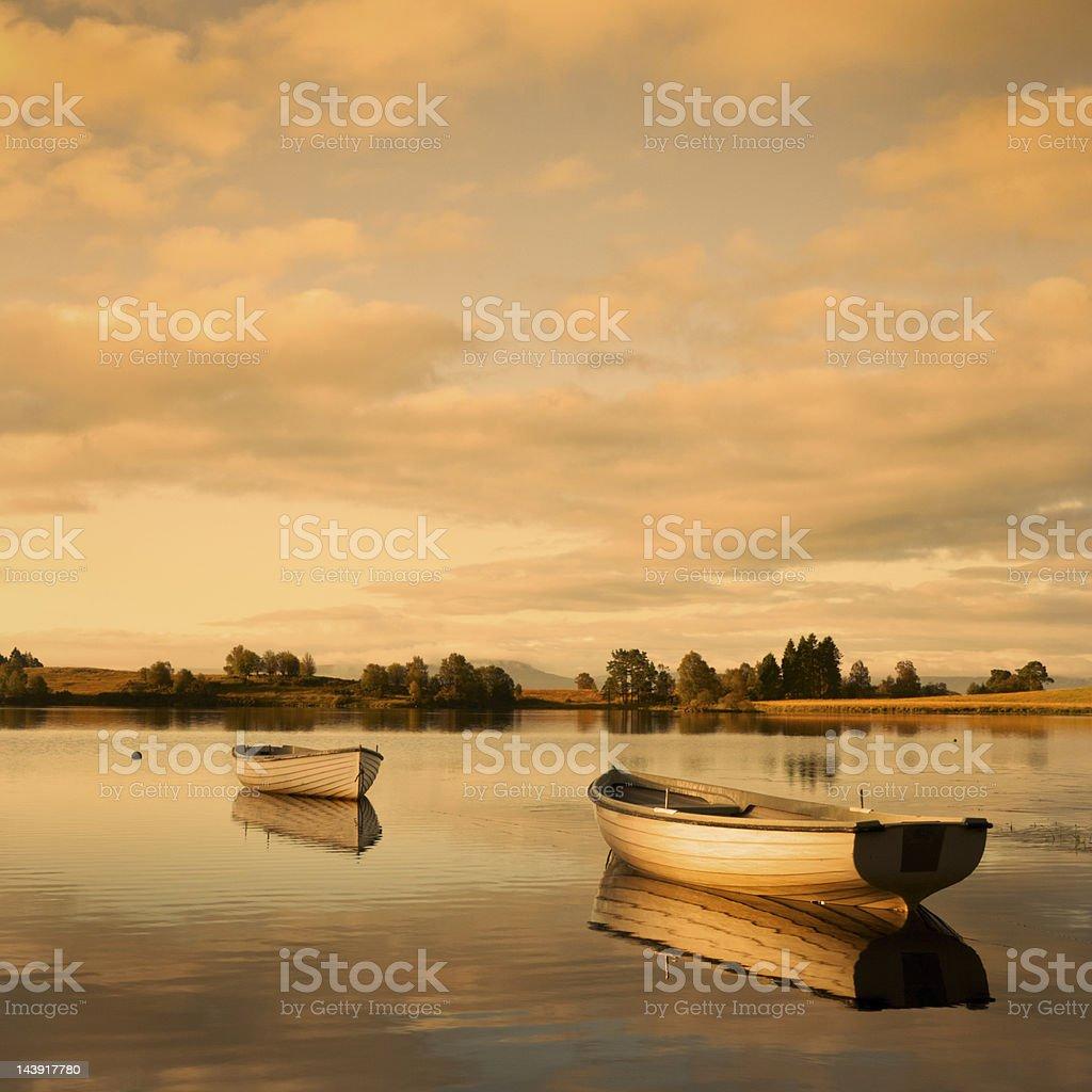Golden Loch Rusky at dusk. royalty-free stock photo