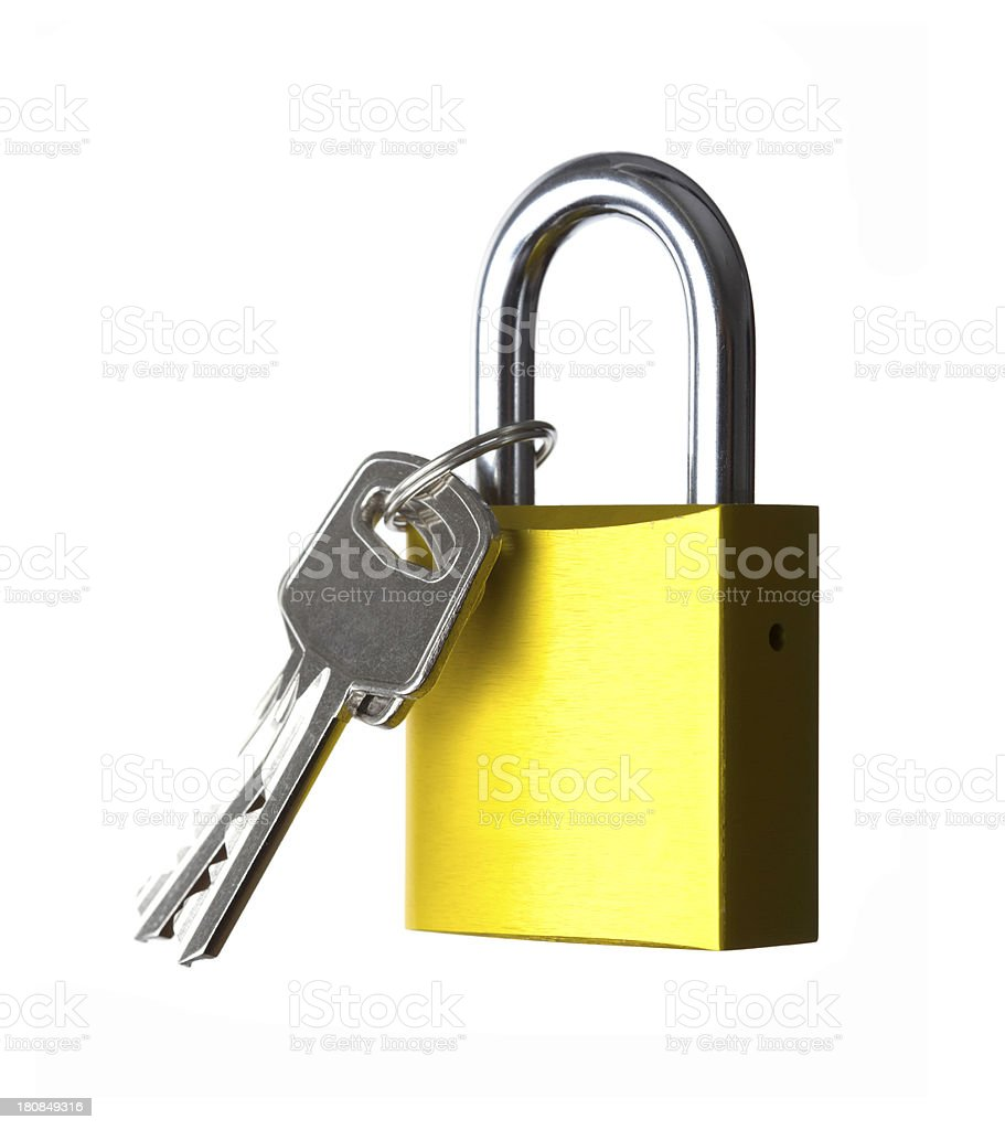 Golden Lock with key royalty-free stock photo