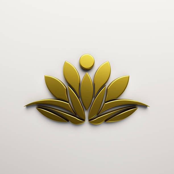 golden lotus blume hintergrund. 3d render-illustration - buddhist tattoos stock-fotos und bilder