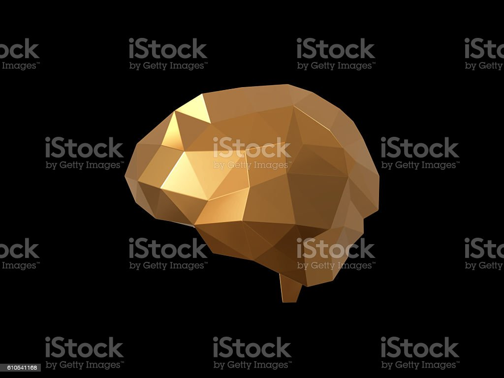golden low polygon brain , Idea concept background design. stock photo