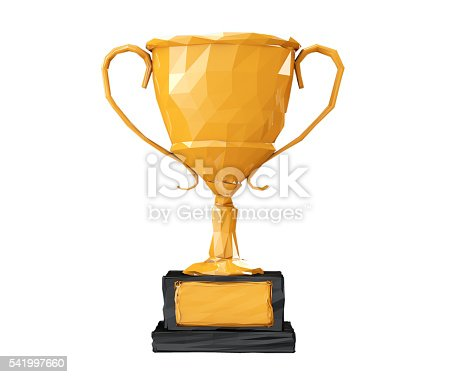 istock Golden Low Polygons Trophy. 3d Rendering 541997660