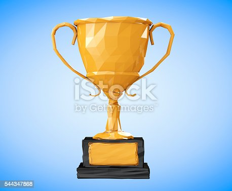 istock Golden Low Polygons Trophy. 3d Rendering 544347868