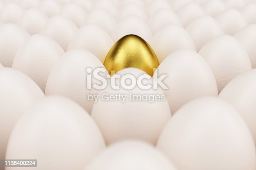 Golden, luxury egg in a centre. Background of white chicken eggs with one golden egg. Symbol of easter, holidays. Concept happy easter. 3D illustration