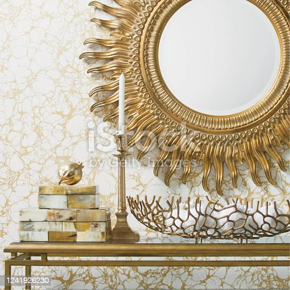 istock Golden luxury interiors with mirror and candles on a table. Bathroom mirror. 1241926230