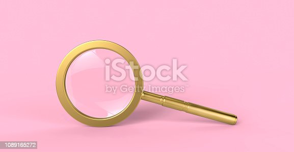 Beautiful gold magnifying glass isolated on minimal pink background. The reflection of light and glare. Education concept. 3D Rendering illustration