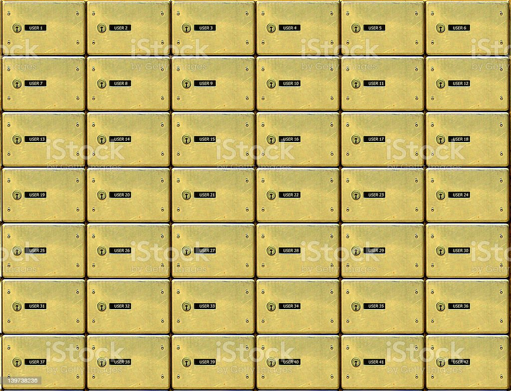 golden mail boxes stock photo