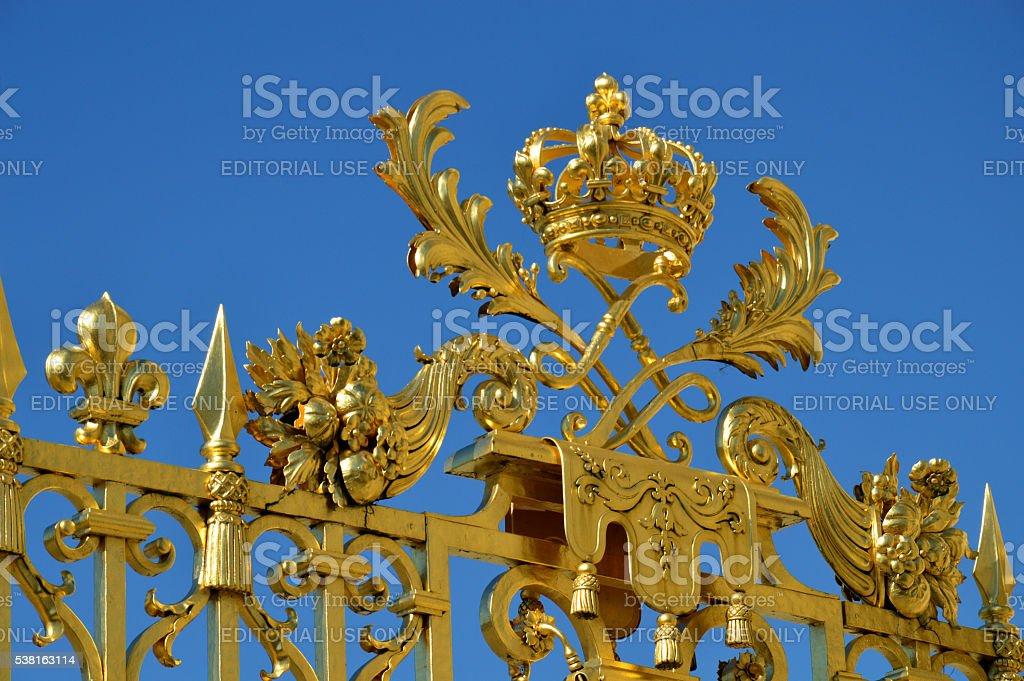 Golden Main Gates of the Versailles Palace stock photo