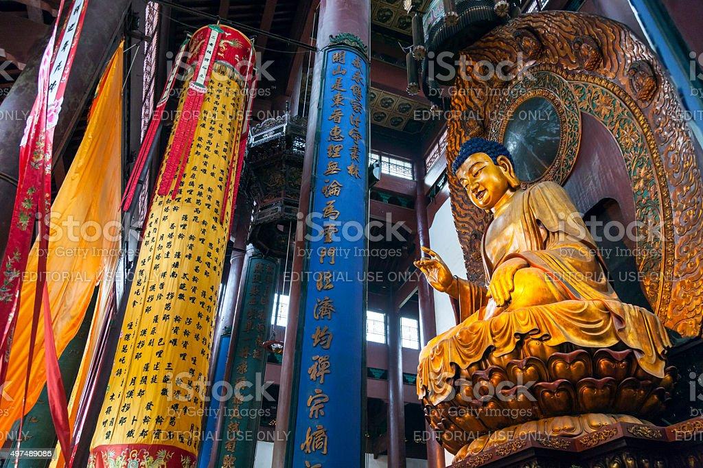 Golden Maitreya Buddha, Lingyin Temple in Hangzhou, China stock photo