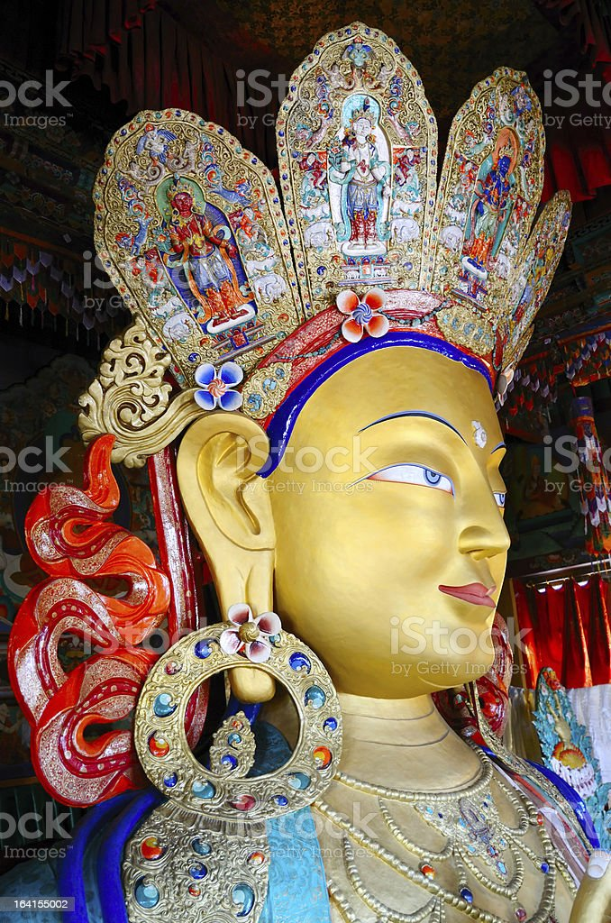 Golden Maitreya Buddha royalty-free stock photo