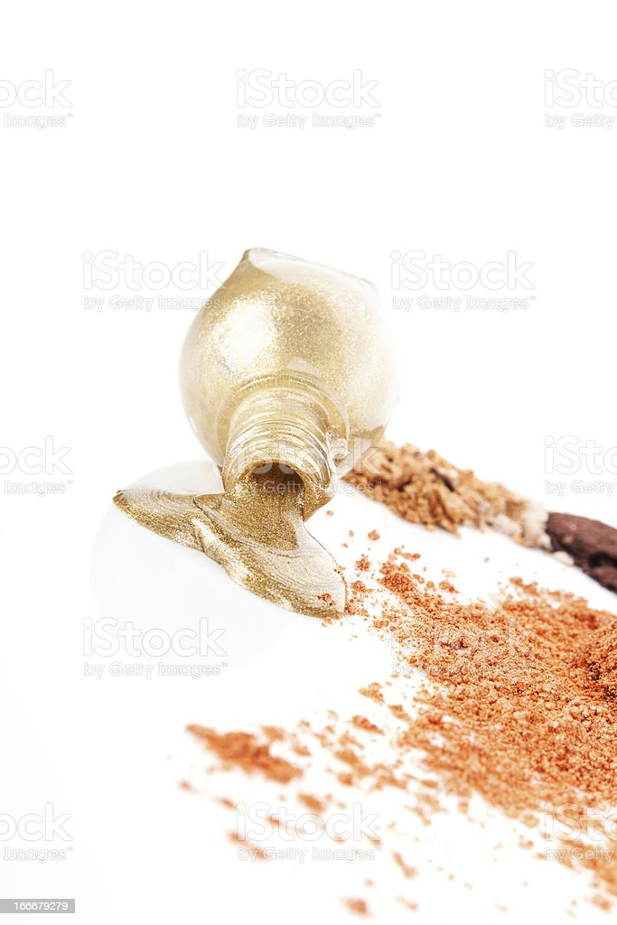 Golden makeup background. royalty-free stock photo