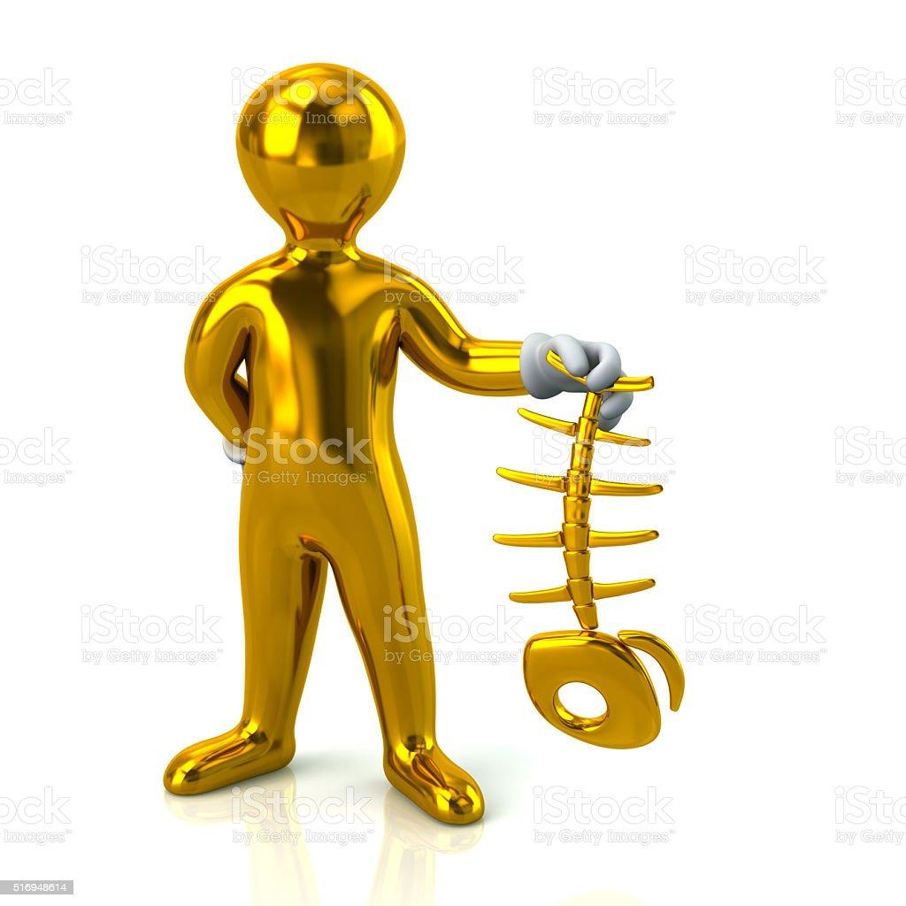 Golden Man Character Holding Fish Bone Skeleton Stock Photo More