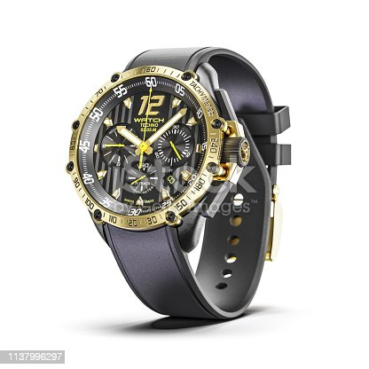 istock Golden man luxury wrist watches isolated on white background 3d render 1137996297